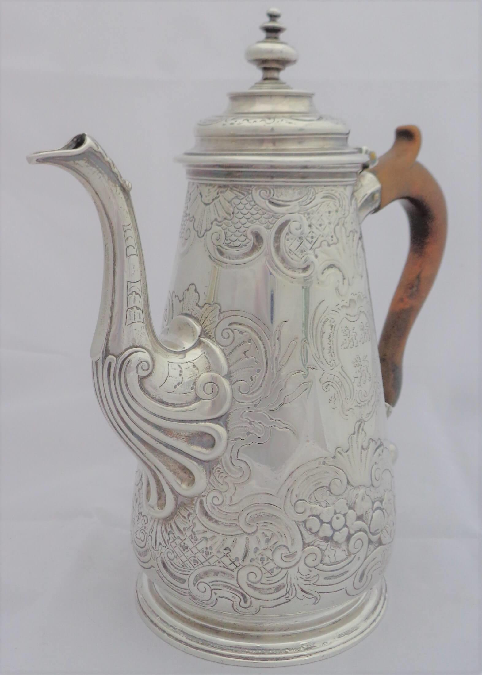 George II Sterling silver coffee pot by Paul Crespin Hallmarked London 1750 converted from a Chocolate pot.