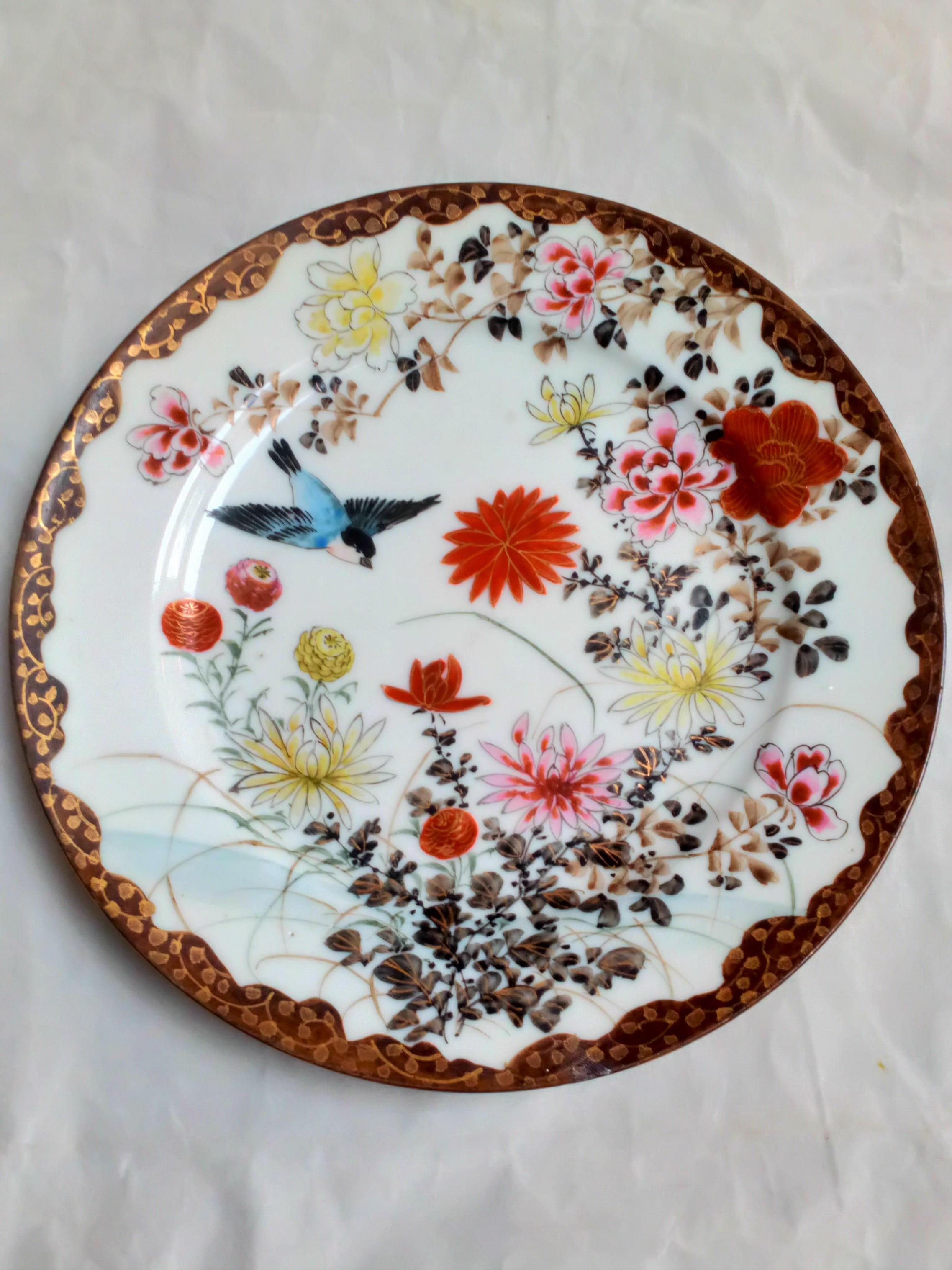 Antique Japanese Porcelain Plate Painted Birds and flowers marked 伊藤製 Ito sei  made by Ito from the Meiji circa 1900