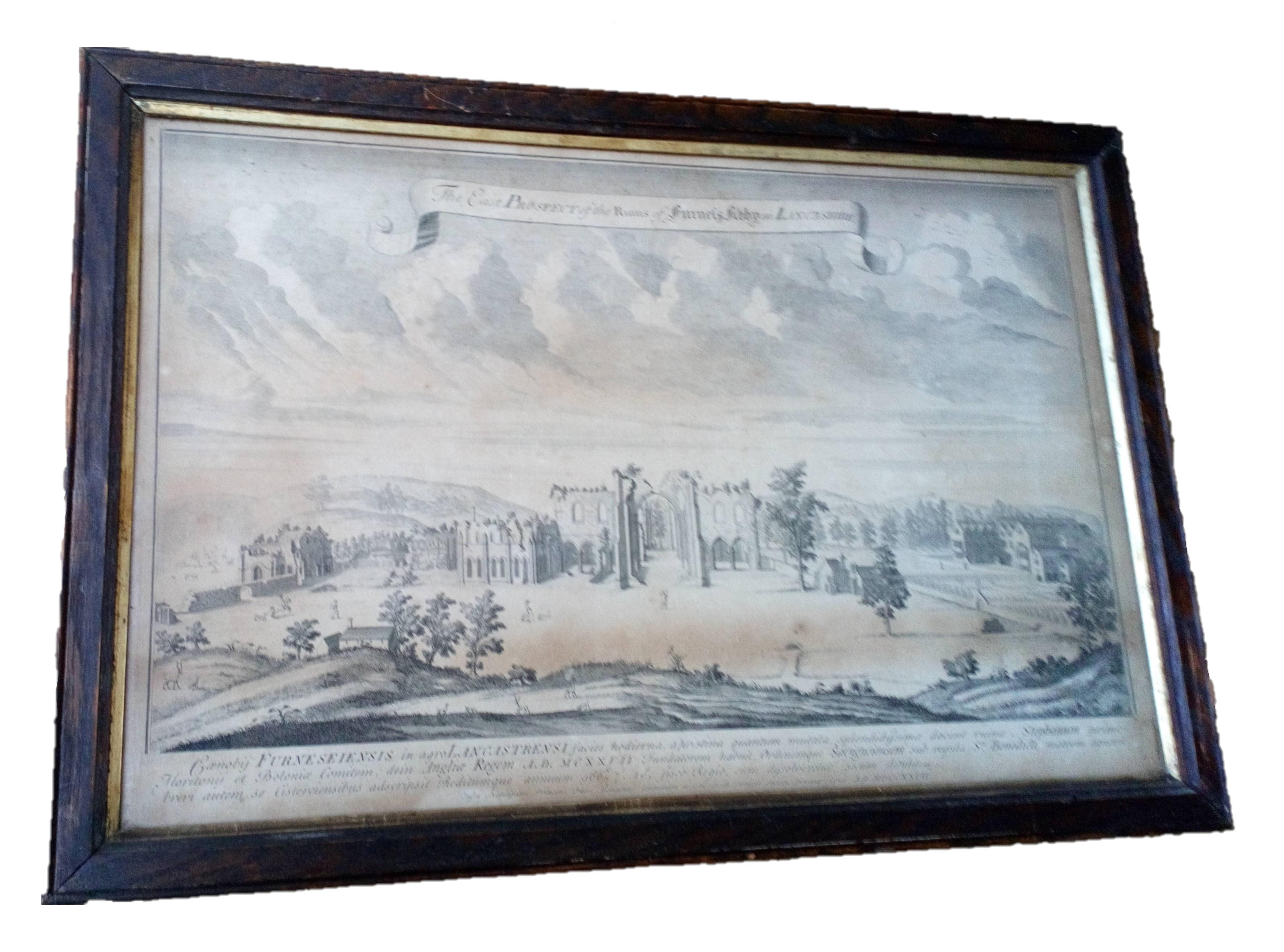 Antiquarian framed engraving of St Mary's Abbey or Furness Abbey Lancashire engraved by George Vertue for the Vetusta Monumenta in 1727 for the Society for Antiquaries of London
