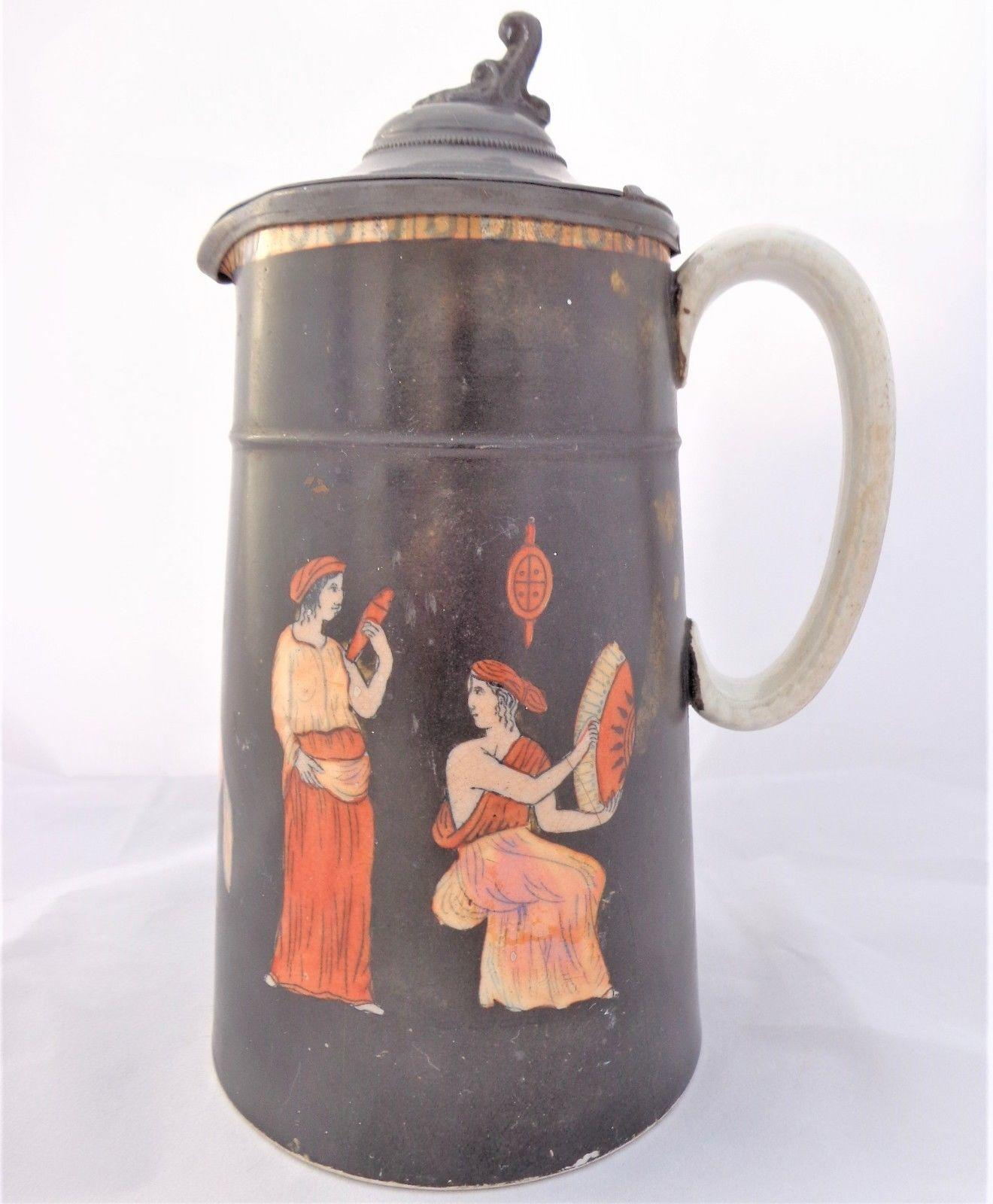 Antique Etruscan Figures Jug Black Glazed Lustre Pewter Lid Poss S Alcock c 1860
