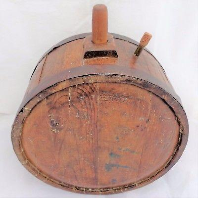 Antique Treen Wooden & Iron Banded Coopered Staved Canteen Barrel Keg Mid 19thC