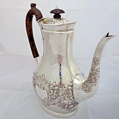 Victorian Silver Coffee Pot HM Sterling London 1899 WGJL Repousse Antique 682g