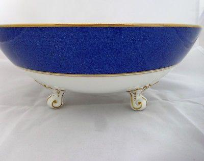 Vintage Coalport China Athlone Blue Tripod Fruit Bowl Floral Centre Kings Pattrn