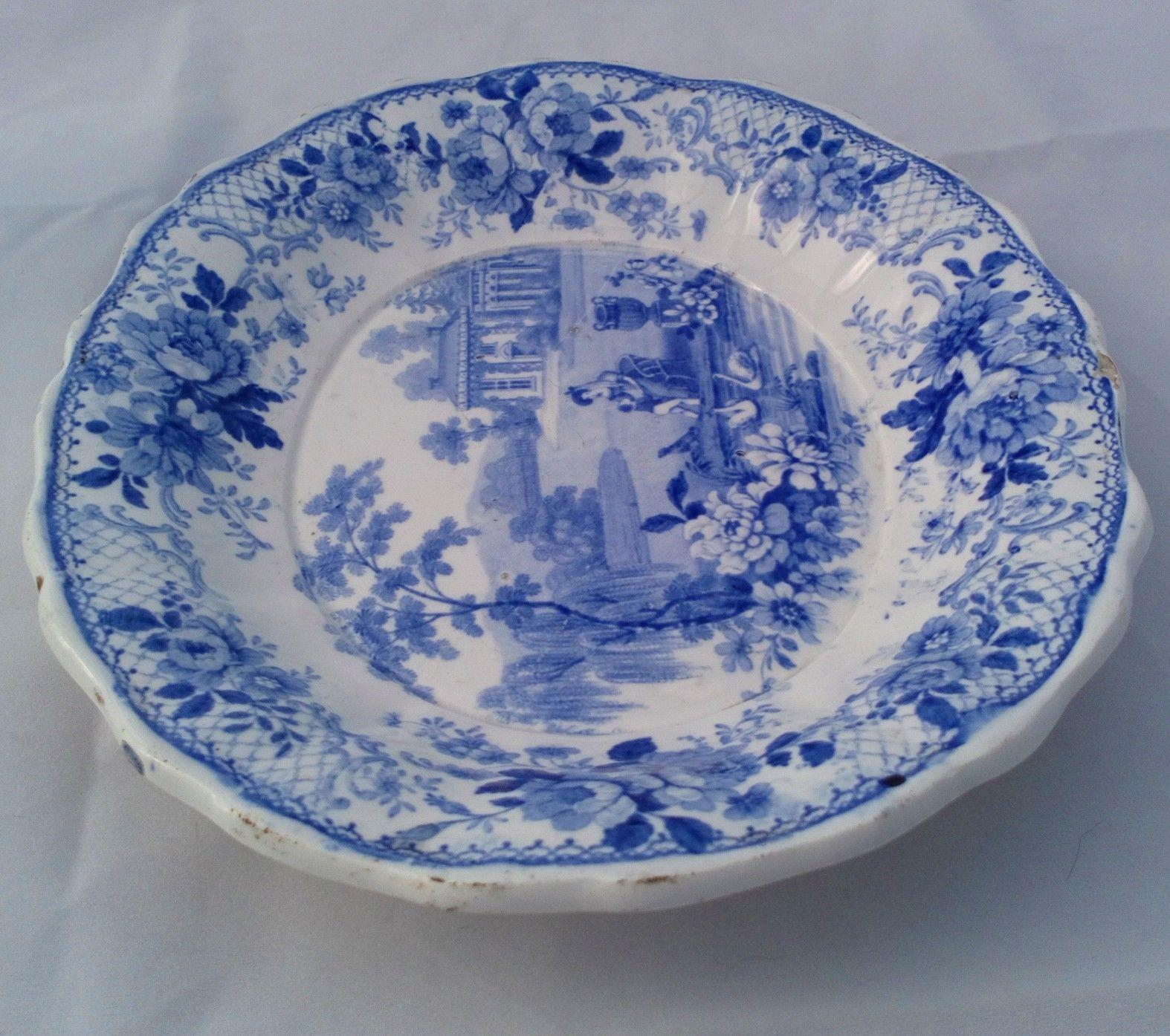 Antique Oval Plate Blue & White Transferware Domestic Scenery Patt S & J Burton