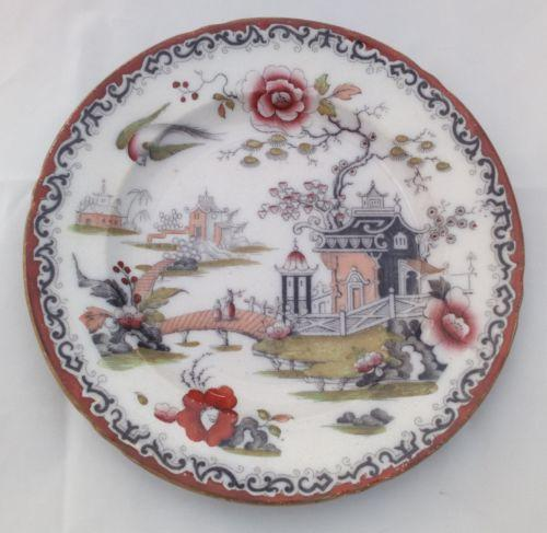 Antique Ironstone Plate Transfer Printed Hand Coloured Pekin Chili Willow c 1850