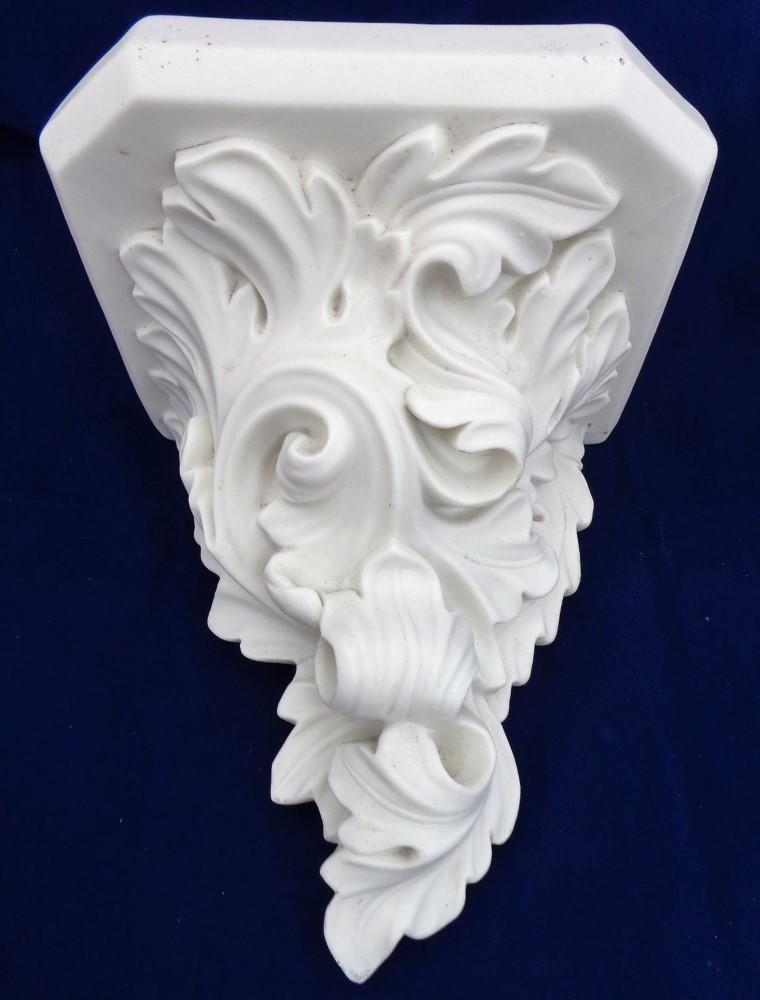 Antique Parian Bracket Wall Shelf Rococo Acanthus Scrolls Porcelain Bisque 1860