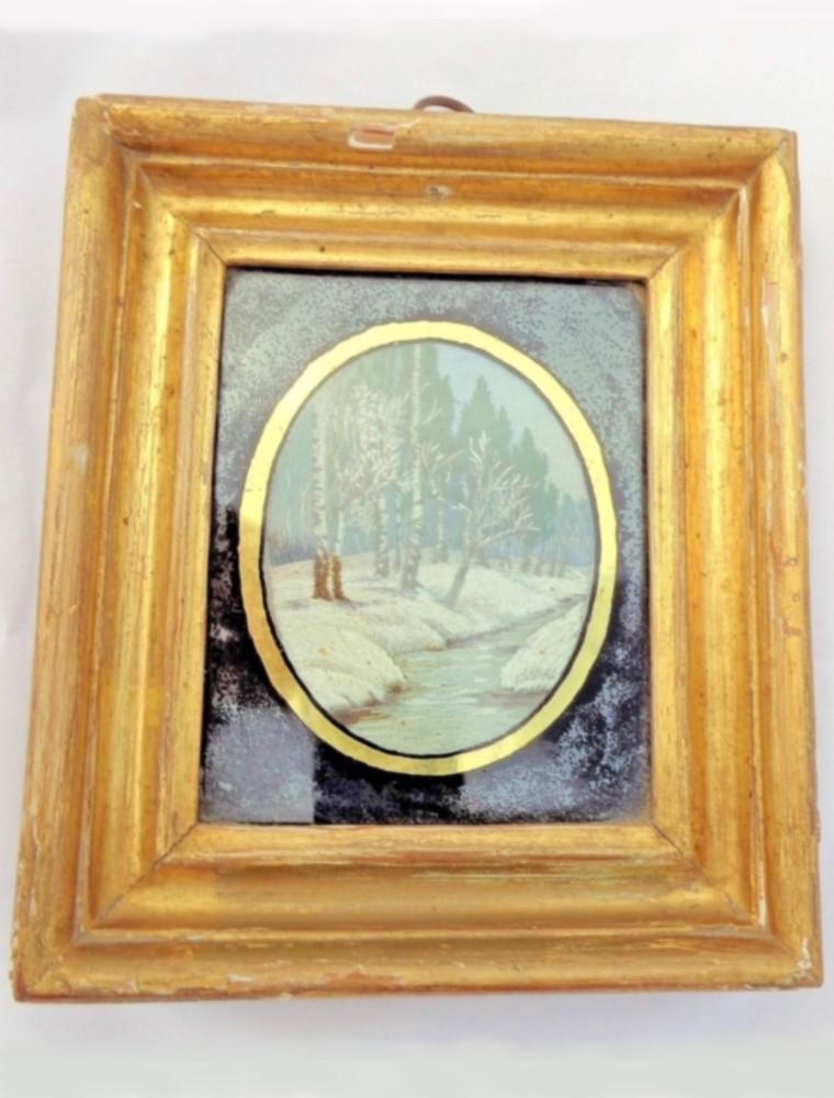 Antique Silkwork Picture Framed Black Glass Border Winter Riverscape Early 19thC