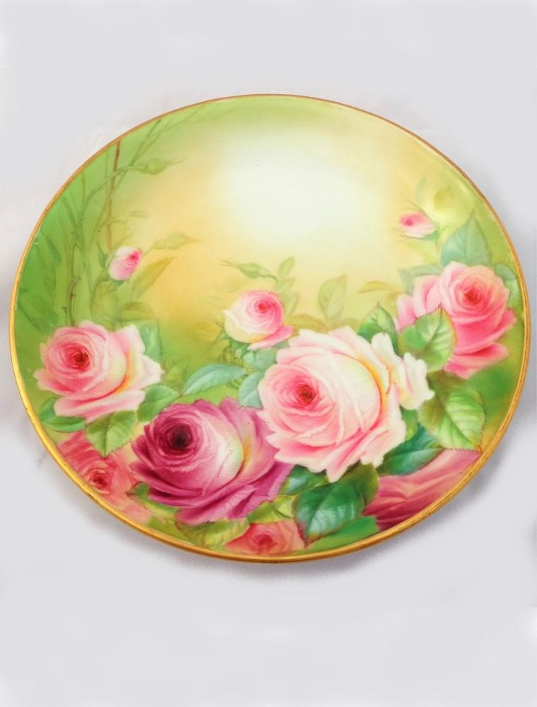 Antique Porcelain Cabinet Plate Hand Painted Pink Roses Worcester Type ca 1910