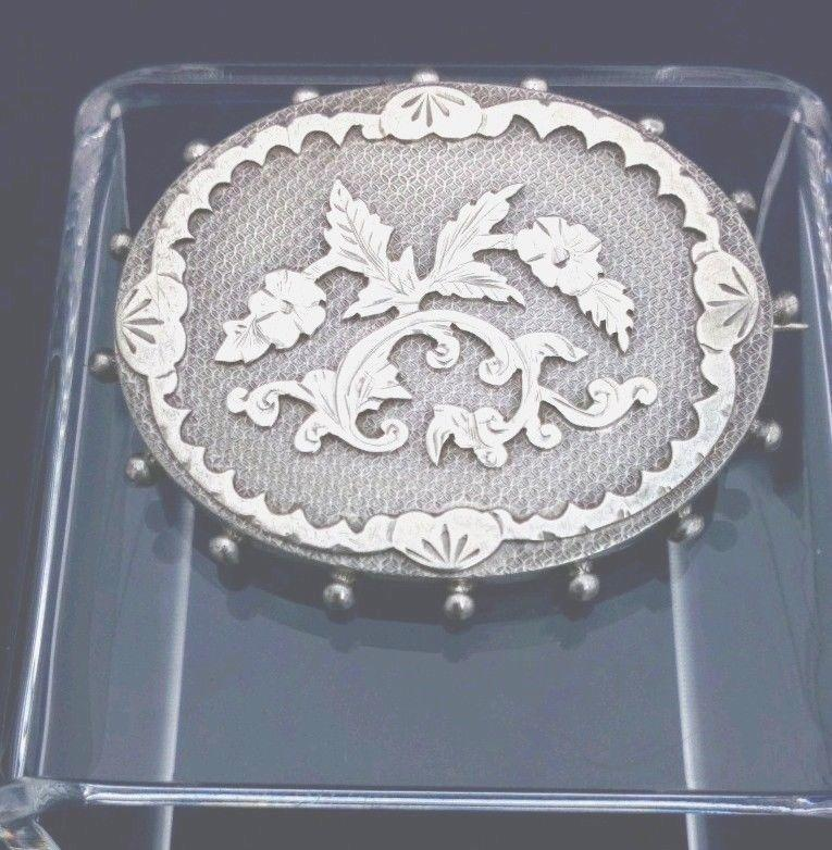 Antique Victorian Aesthetic Movement Silver Brooch Oval Shape Flowers c 1870