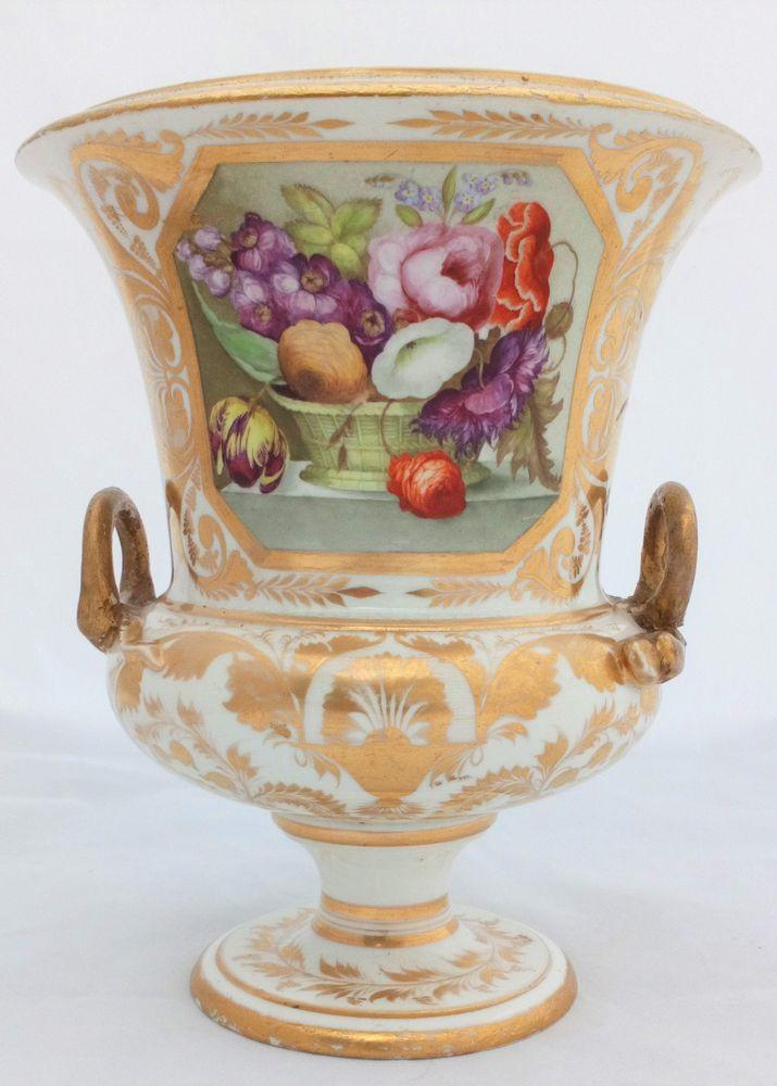 Derby Porcelain Campana Vase Hand Painted Floral Basket P 43 Georgian  c 1820