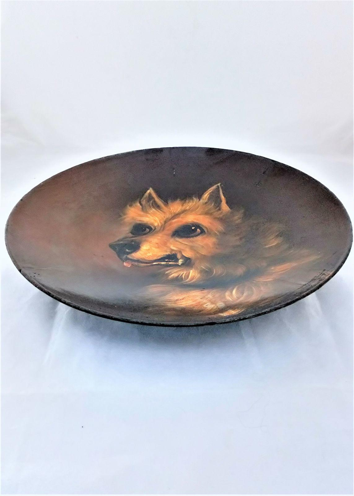 Papier Mache Plate Hand Painted Dog Chihuahua Antique Victorian c 1880