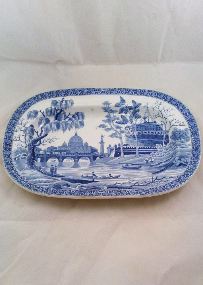 Spode Blue and White Small Pearlware Platter Rome or Tiber Pattern circa 1820