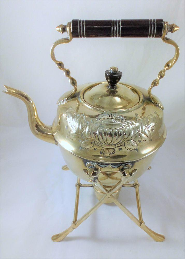 Arts and Crafts Brass Spirit Kettle Stand and Burner Leaf Urn Design c 1900