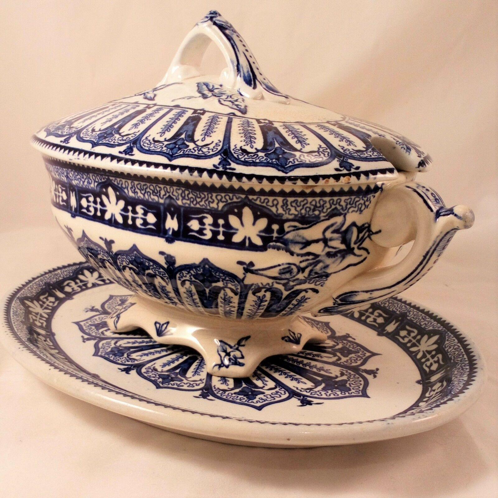 Antique Blue Transferware Sauce Tureen and Stand Burgess & Leigh Aesthetic c1880