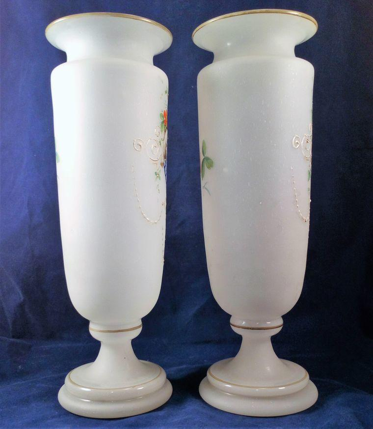 Pair Frosted Opaline Bristol Glass Vases Hand Painted Hearts  Antique c 1880 27cm