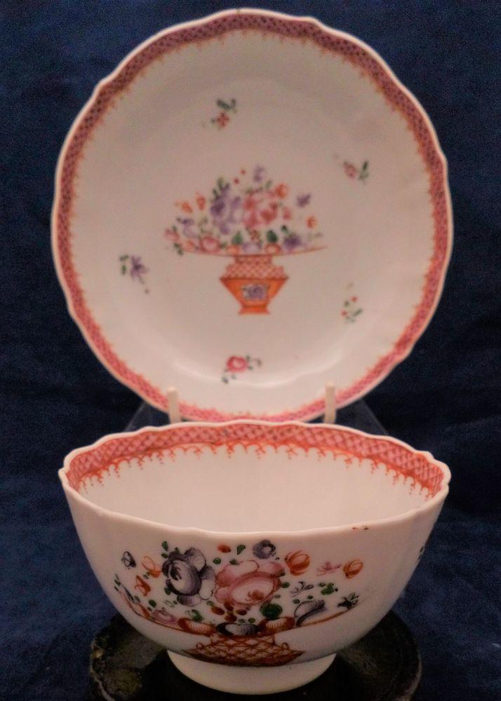 Chinese Porcelain Tea Bowl and Saucer Famille Rose Qianlong Qing Antique c 1790