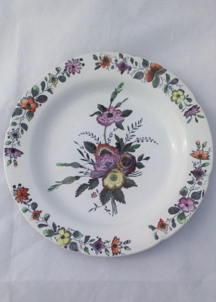 French Pearlware Dessert Plate Hand Coloured Floral Sprays Antique 19th C