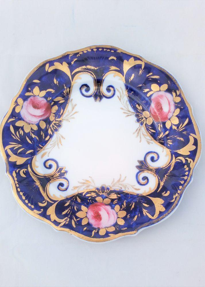 English Regency Porcelain Plate Pink Roses Blue Ground c 1815
