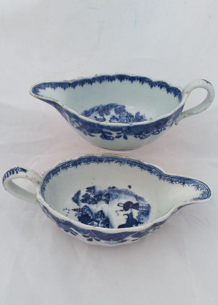 Pair Chinese Porcelain Blue White Sauce Boats Boy and Buffalo Qianlong Qing 1780