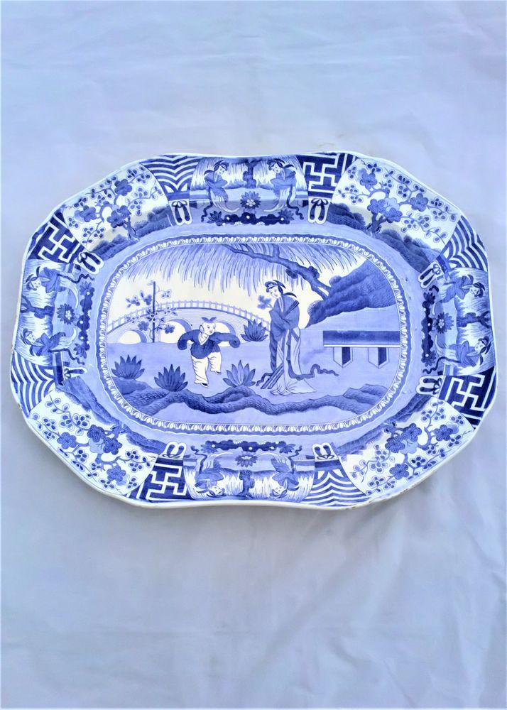 Copeland Lange Lijsen Long Eliza Meat Plate Platter Blue & White Antique c 1850