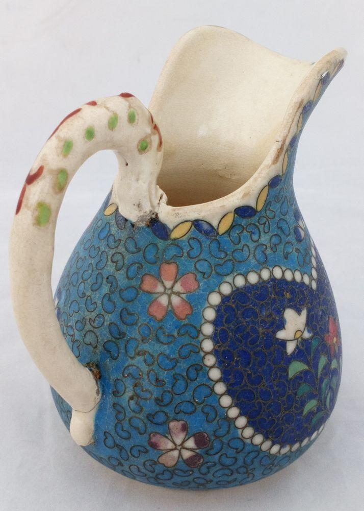 apanese Totai Shippo Cloisonne Pottery Jug Dragon Handle Floral Design c 1890