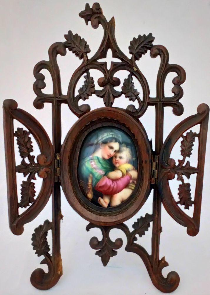 Antique Hand Carved Black Forest Frame Porcelain Plaque Madonna Della Sedia