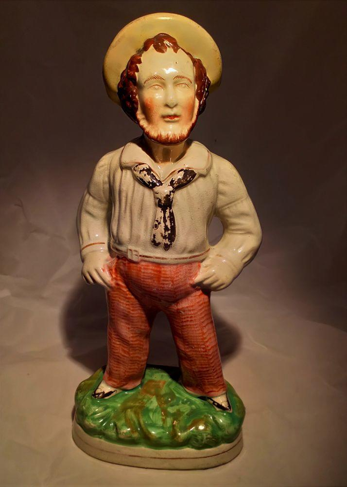 Large Antique Staffordshire Flatback Sailor Figurine or Jack Tar Figure circa 1860