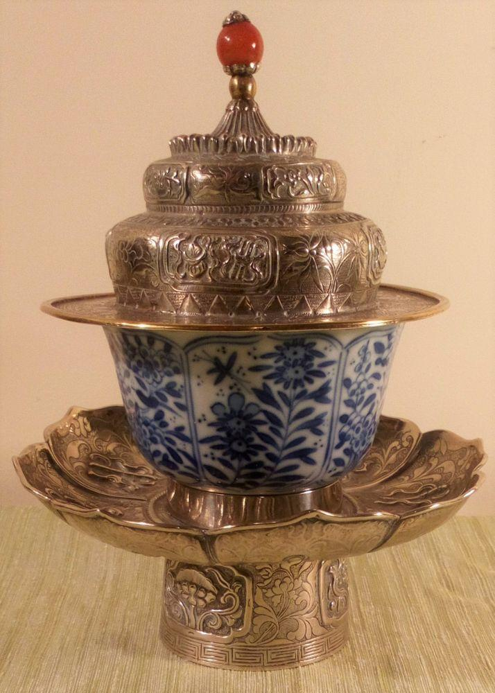 Antique Tibetan 19th C Tea Bowl Stand And Cover with Kangxi 康熙 18th C Qing 清代 Porcelain Bowl