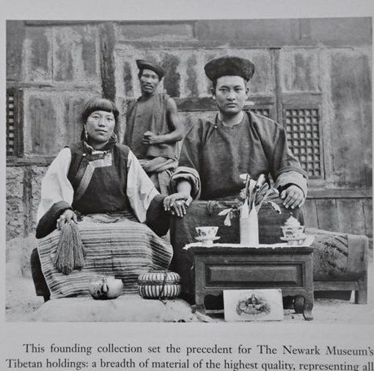 Antique Tibetan Jo Lama and his wife circa 1913 with Tea Bowl Stand And Cover