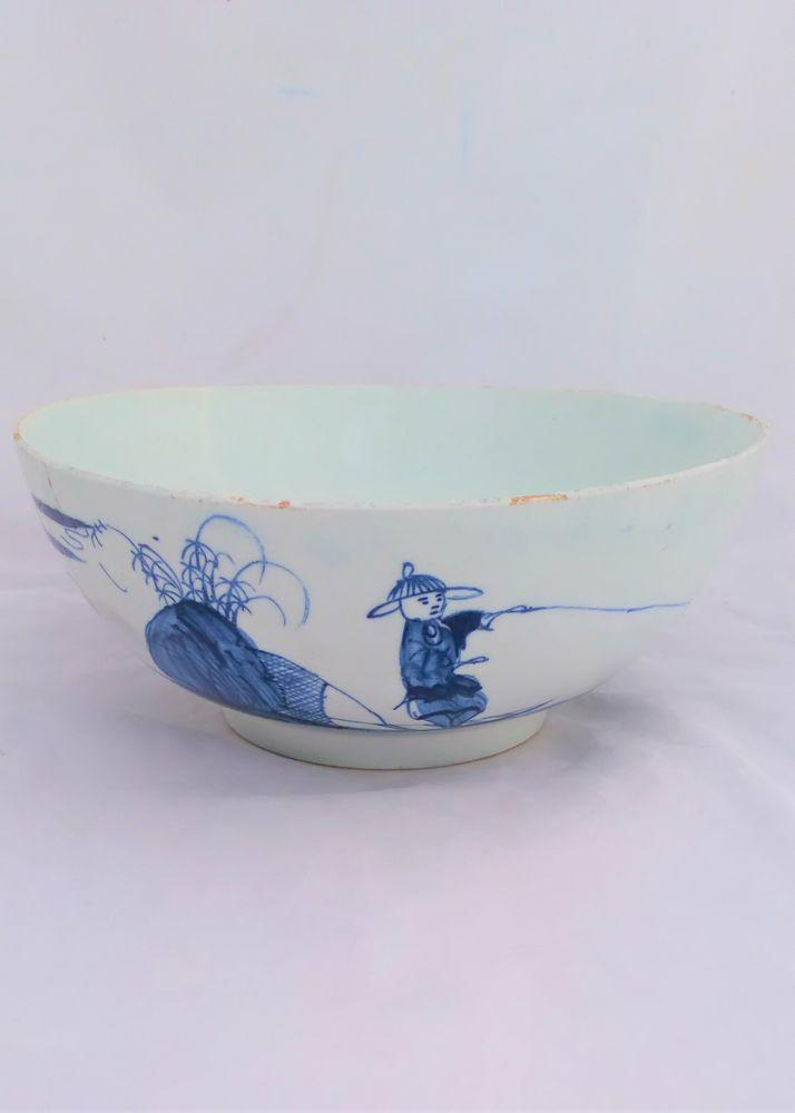 Bow Porcelain Fisherman and Cross Legged Chinaman Bowl circa 1750 -  no he is not tall and angry!