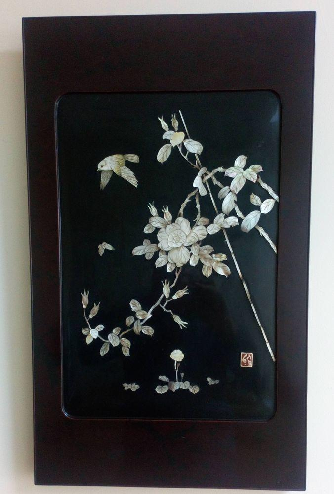 Pair of Antique Japanese Shibayama Lacquer Panels Inlaid Carved Mother of Pearl Meiji Signed Seal circa 1900