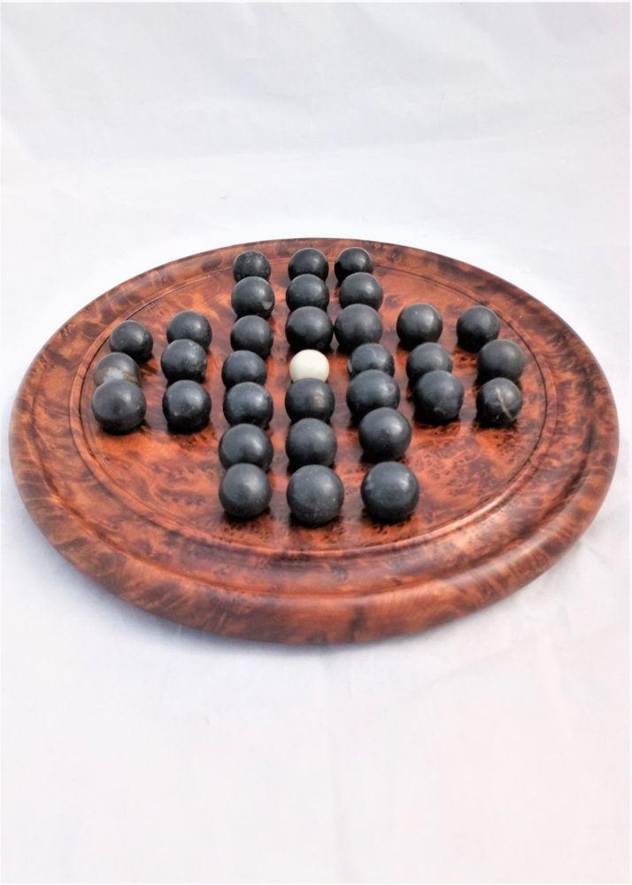Antique Victorian Solid Burr Walnut Solitaire Game Board with Stone Marbles 19th C