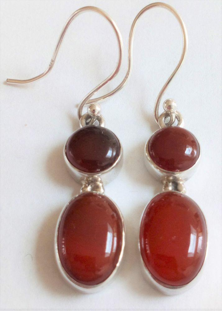 Antique Edwardian to 1920s Silver and Carnelian Dropper Earrings on French Hooks