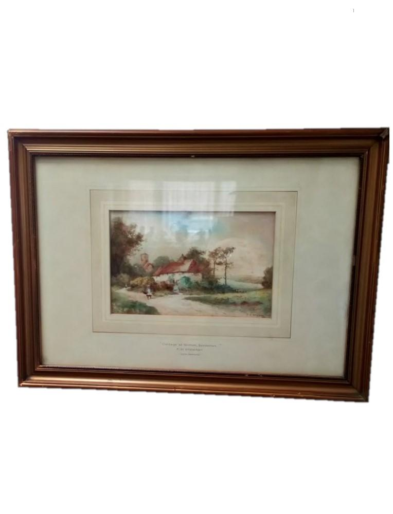 "Antique 19th Century Watercolour Painting of a ""Cottage at Wootton Berkshire"" by F.H. Stewart"