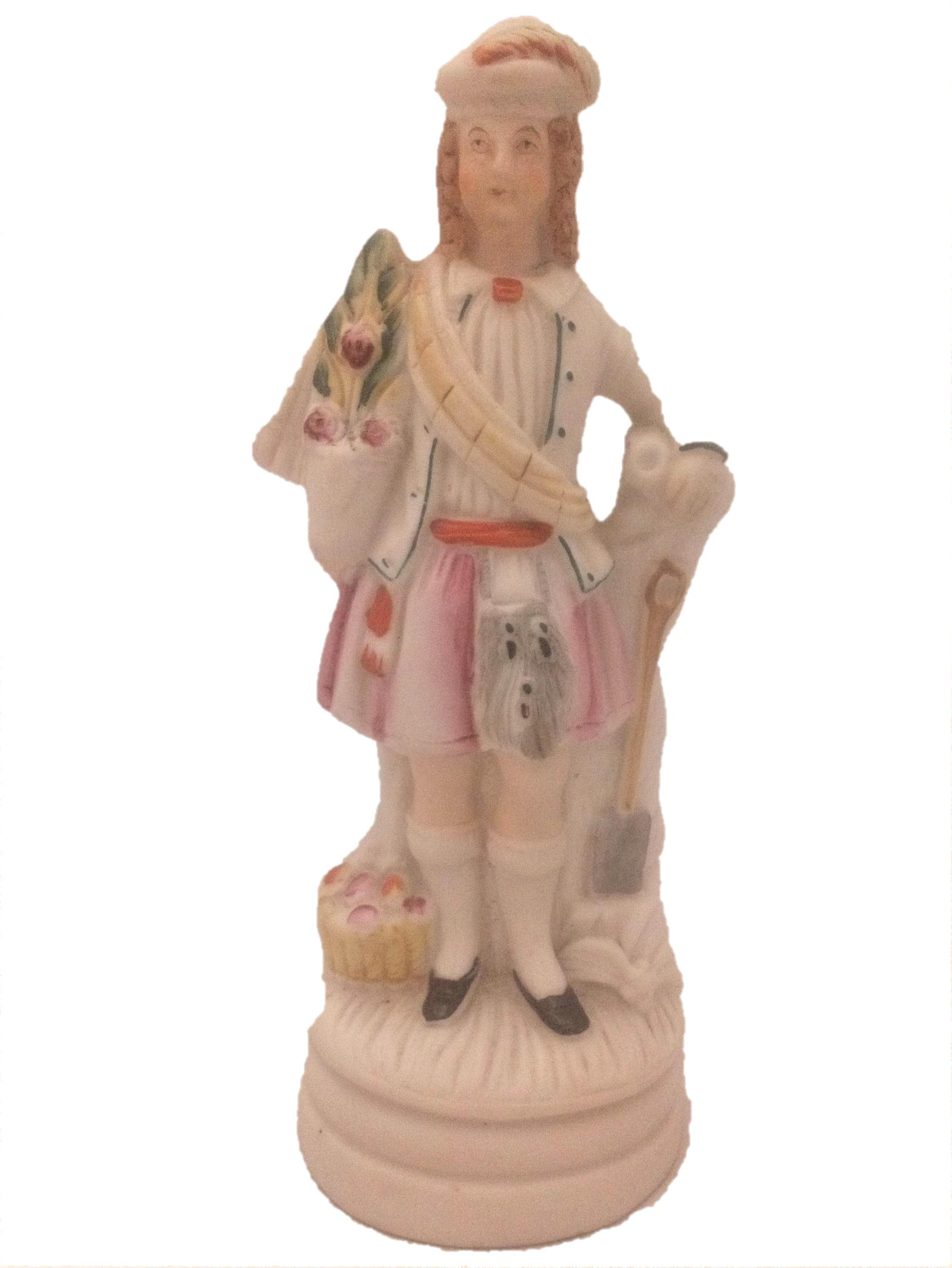 Antique European Continental Porcelain Figurine of a Scottish Gardener dressed in a Kilt holding a plant pot circa 1850