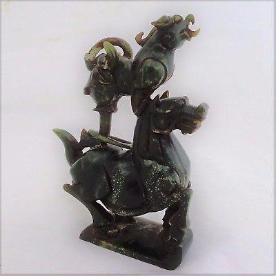 Chinese Carved Green Jade Figure Horse & Pixiu Ganesha Elephant Antique 19th C