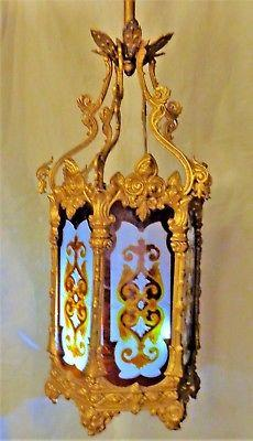 "Antique Gasoliers Lantern Hall Light Hexagonal Brass & Stained Glass C 1880 40""H"