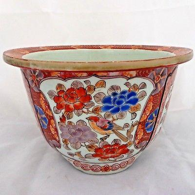 Antique Japanese Feishan Porcelain Planter Jardiniere Painted Bird Signed c 1875