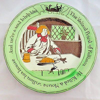 Antique Pottery Plate W Adams & Co Rare-Bit Plate Feltham Priest & Mouse 1900