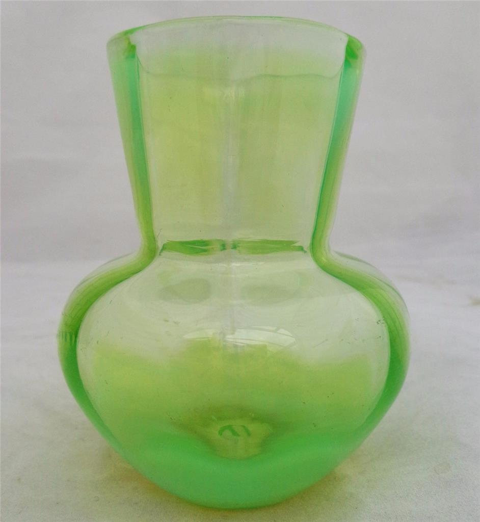 Antique Vaseline Pearline Glass Small Posy Vase UV Glow c 1890 Victorian 3.5 in