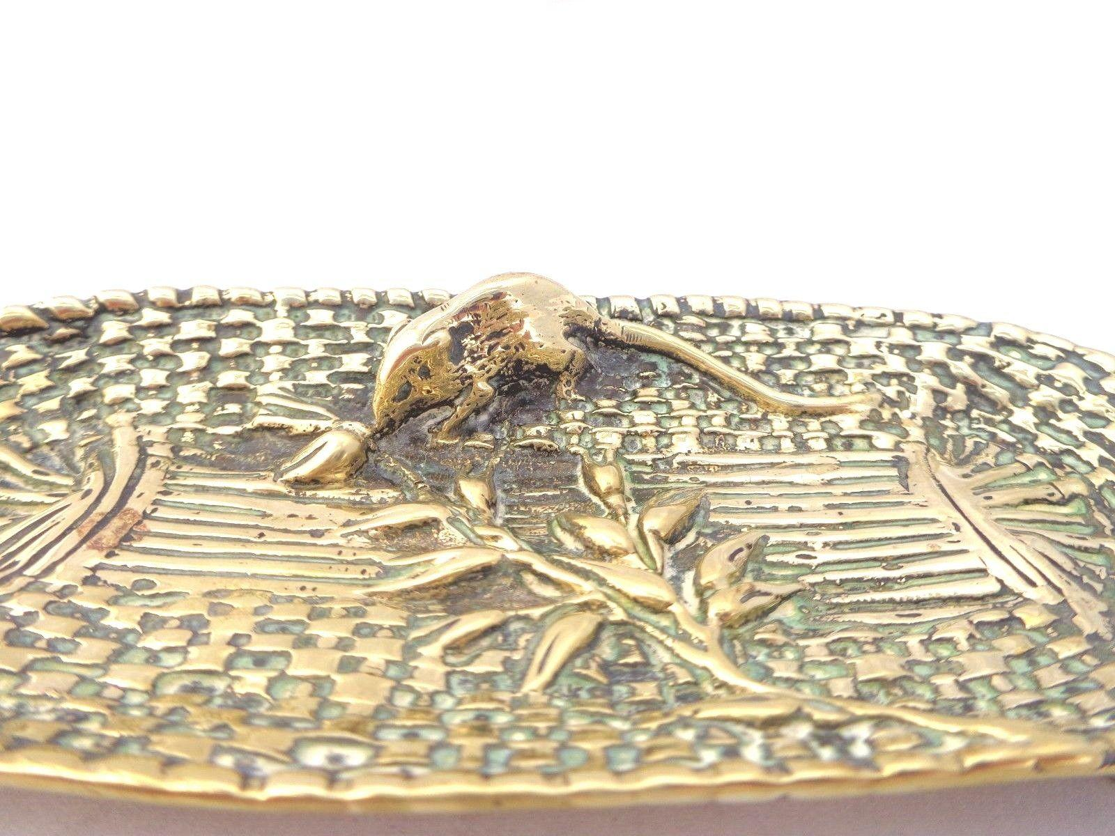 Antique Victorian Brass Pen Tray Cast Basket Weave Field Mouse & Wheat Stem 1890