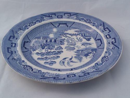 Antique William Ridgway Ironstone Blue and White Print Plate Willow Patt c 1840s
