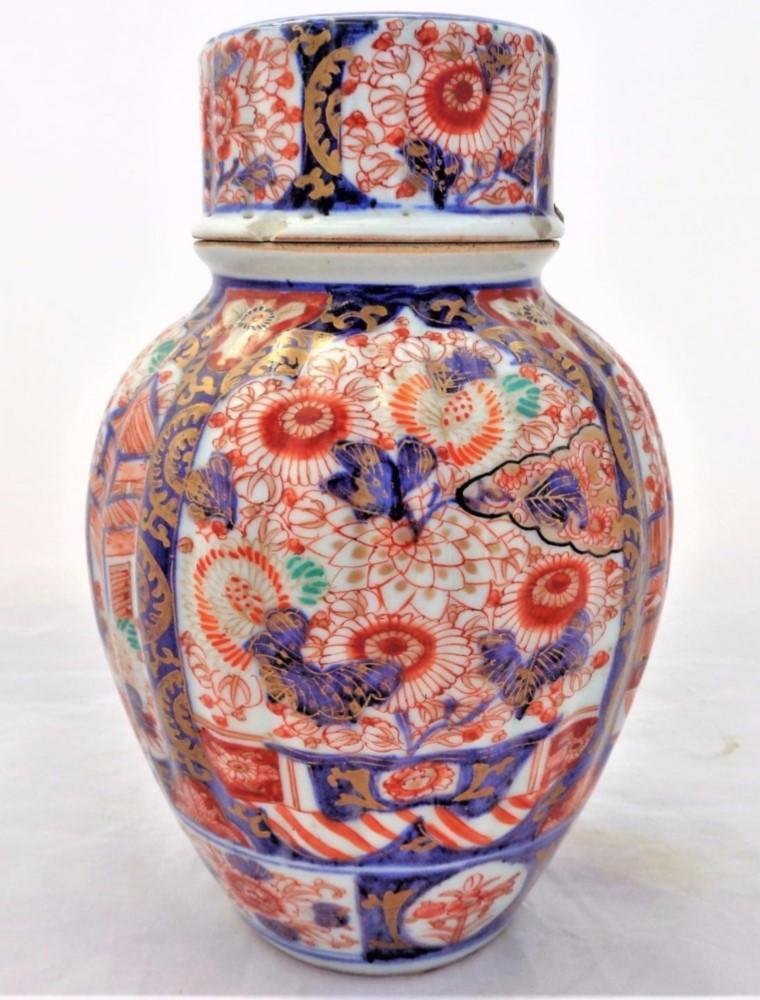 Japanese Imari Ribbed Porcelain Lidded Jar Hand Painted Antique Meiji 19th C