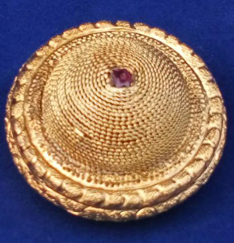 Victorian Brooch Gold Colour with Almandine Garnet Domed Shape Antique c 1860