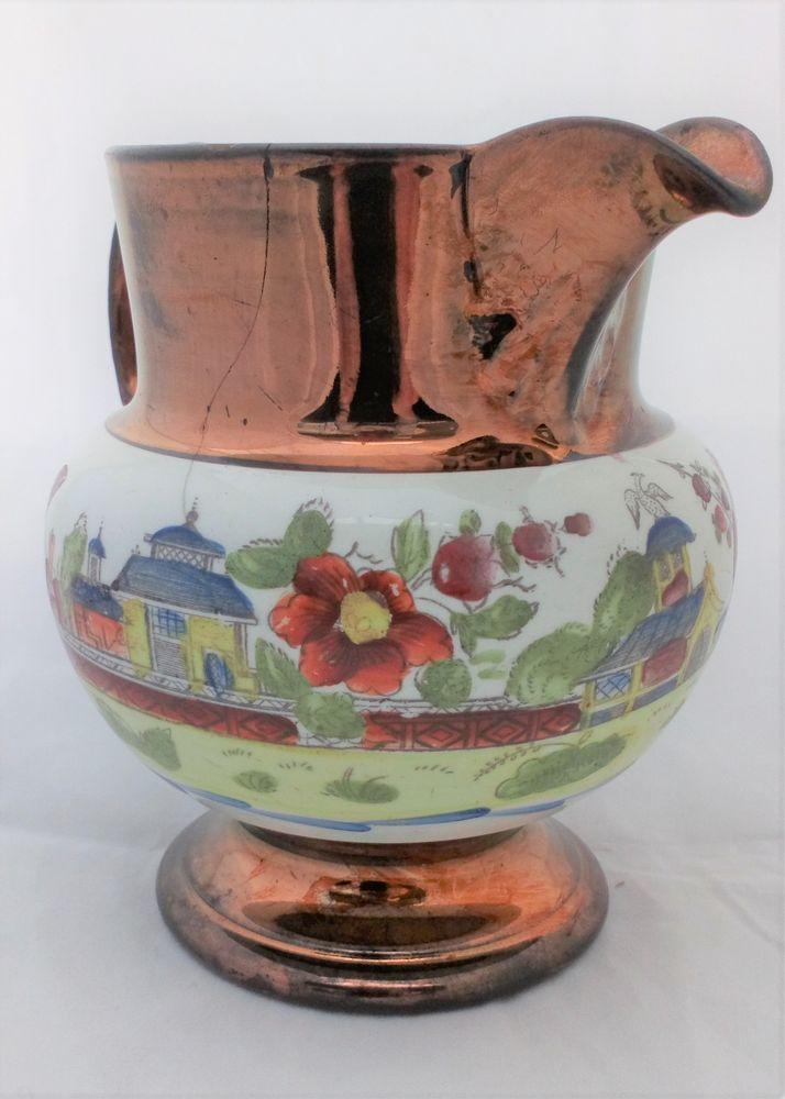 Antique Copper Lustre Hand Coloured Chinoiserie Printed Jug  c 1825