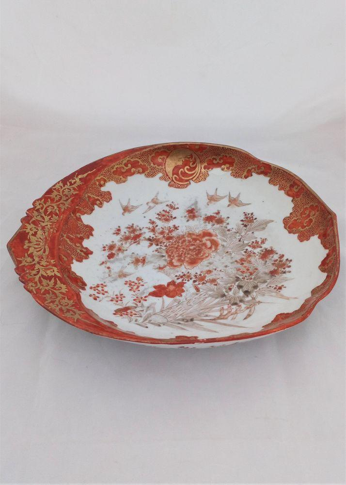 Japanese Kutani Porcelain Leaf Shaped Dish Bids and Flowers Meiji c 1880