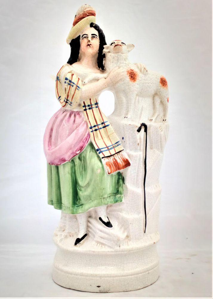 Staffordshire Figurine Shepherdess and Sheep Tartan Shawl c 1860
