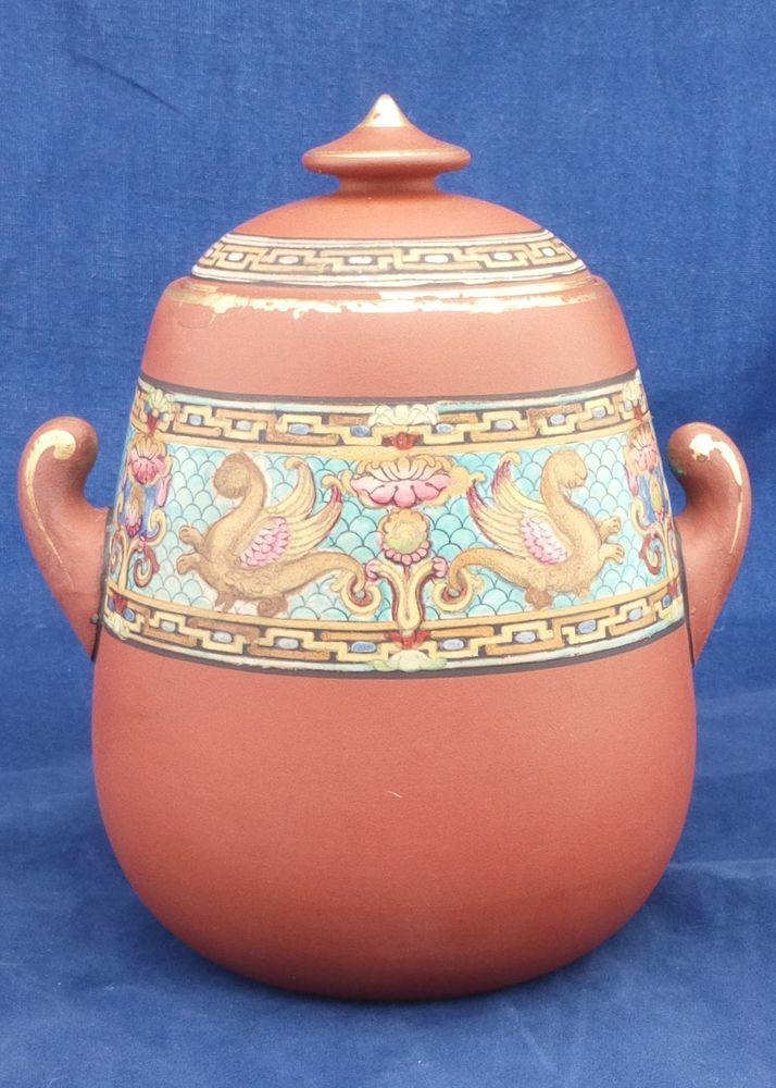 F and R Pratt Terracotta Twin Handled Lidded Sucrier Griffin Pattern c 1860