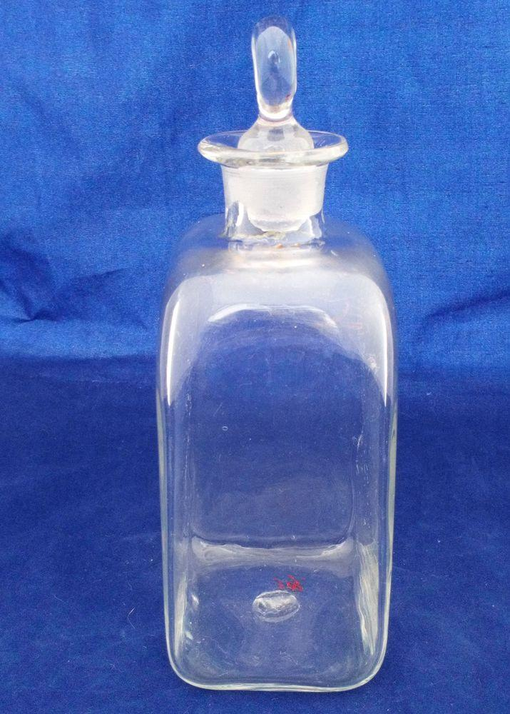 Georgian Dutch Type Glass Spirit Decanter Antique c 1800 Pinched Disc Stopper