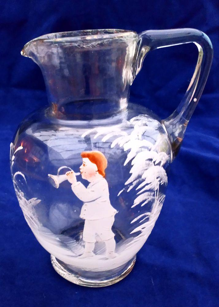Antique Bohemian Glass Jug Enamelled Trumpet Player Mary Gregory Style c 1880